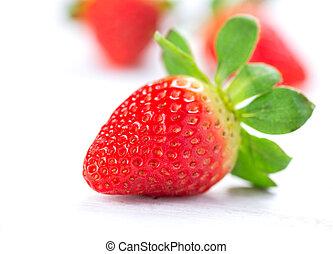 erdbeer, weißes, Freigestellt, hintergrund