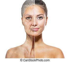 envelhecimento, skincare, conceito, caras, jovem, antigas,...