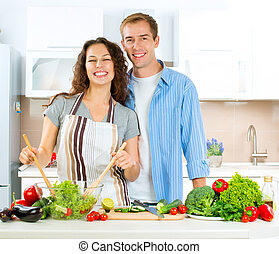 Happy Couple Cooking Together Dieting Healthy Food
