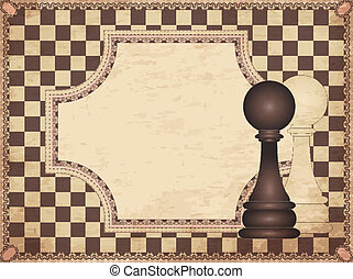 Vintage chess card with two pawns