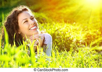 bonito, jovem, mulher, Ao ar livre, apreciar, natureza