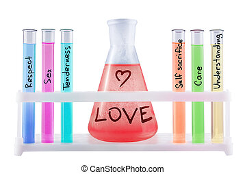 Formula of love - Abstract chemical formula of love on white...