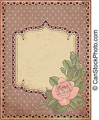 Vintage greeting card with rose, vector illustration