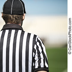 American football referee in close up