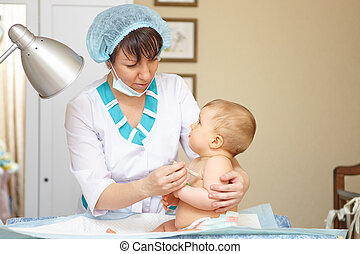 Baby healthcare and treatment. Medical symptoms. Temperature...