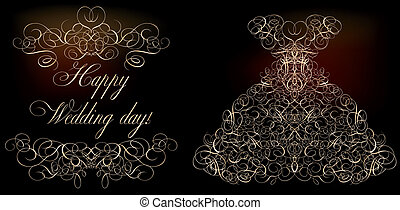 Happy Wedding day banner, vector illustration