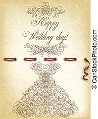 Happy Wedding day vintage card, vector illustration