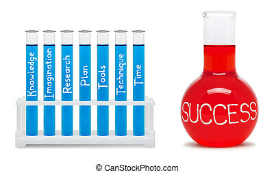 Formula of success. Concept with blue and red flasks....
