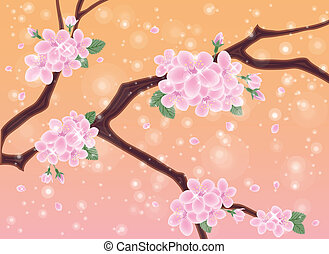 Spring card with sakura flowers