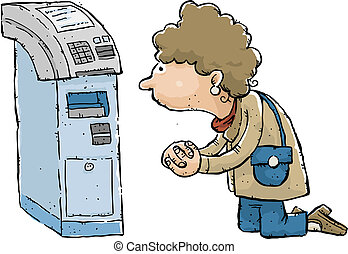 ATM Prayer - A cartoon woman prays to an ATM, hoping for...