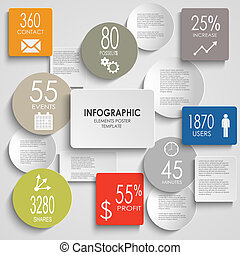 Abstract colored round rectangle info graphic elements...