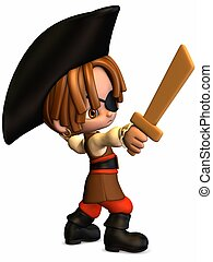 Little Pirate - Toon Figure - 3D Render of an Toon Figure