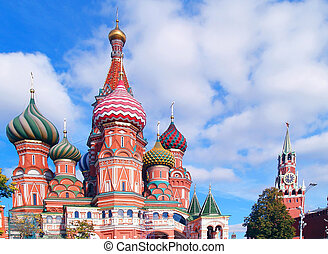 Red Square, Moscow, Russia: Saint Basil Cathedral and clock...