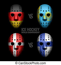 Goalie masks with flags - Ice Hockey World Championship
