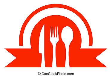 kitchen ware icon - red kitchen ware icon - restaurant...