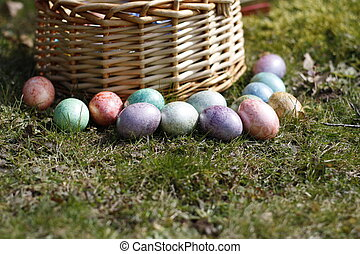 eastereggs - easter eggs beside basket
