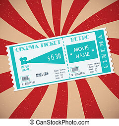Retro Cinema Ticket - Retro cinema ticket on striped...