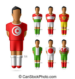 Soccer football players in national flags uniform
