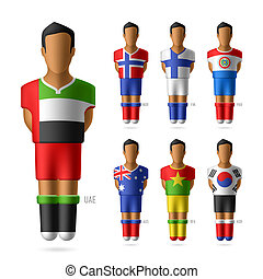 Soccer / football players in national flags uniform