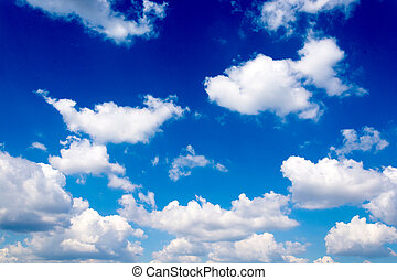 Fluffy clouds - White fluffy clouds over the blue sky