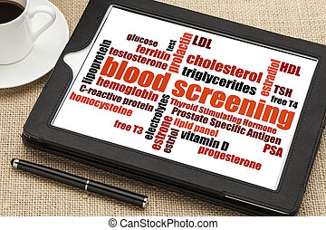 blood screening word cloud - healthcare concept - blood...