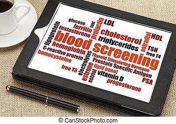 blood screening word cloud - healthcare concept - blood...
