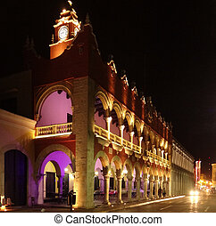 Merida - Illuminated night scenery of Merida in Yucatan,...