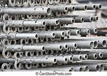 scaffold - aluminum scaffolding at construction site,...