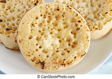 Toasted crumpets - Hot buttered crumpets