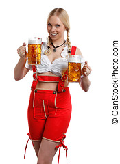 Woman with a glass of beer - very beautiful woman in tiroler...