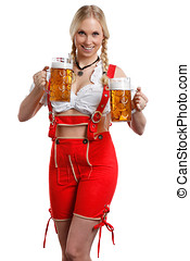 Woman in tiroler style with a beer - very beautiful woman in...