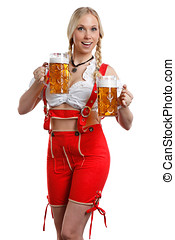 Woman in tiroler with a beer - very beautiful woman in...