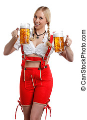 Woman in tiroler with glass of beer