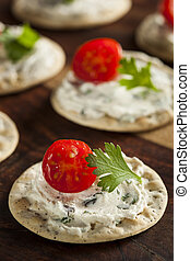 Cracker and Cheese Hors Doeuvres with Tomato and Parsley