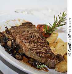 Beefsteak - Grilled Steak With Mushrooms And Potatoes
