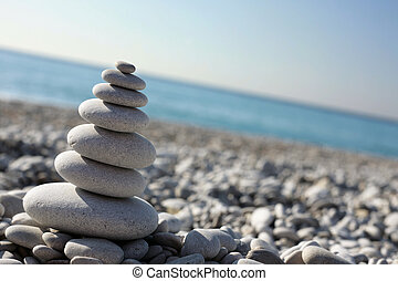 Stone Stack on a Pebble Beach