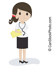 Female doctor in white gown with stethoscope, vector