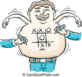 Tic Tac Toe Belly - A man laughs as people play tic tac toe...