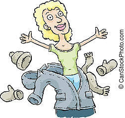 Spring Coat Shedding - A cartoon woman sheds her coat and...