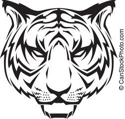 Tiger Icon - This is a vector graphic of a tiger's head in a...