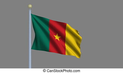 Flag of Cameroon with alpha matte - Flag of Cameroon waving...