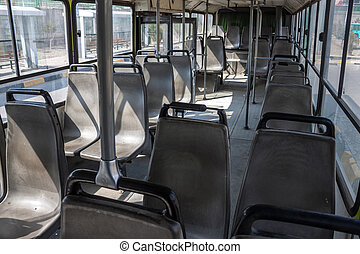 Interior of a bus of local transport in Mashhad, Iran