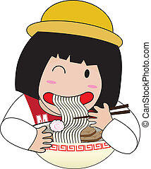 little girl eat ramen cartoon isolated
