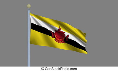 Flag of Brunei with alpha matte - Flag of Brunei waving in...