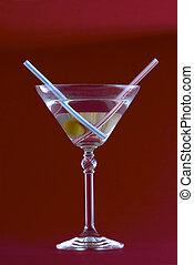 martini, fundo, vermelho