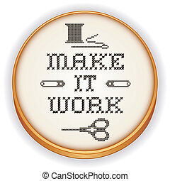 Embroidery, Make it Work, wood hoop - Retro wood embroidery...