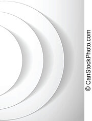 White abstract circles with drop shadow background. Vector...