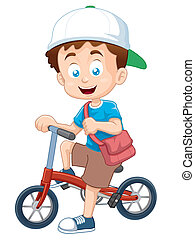 Boy - Vector illustration of boy on a bicycle