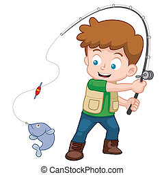 Boy fishing - Vector illustration of Cartoon Boy fishing