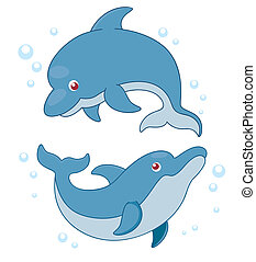 Dolphins - Vector illustration of Cartoon Dolphins